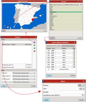 CYPETEL ICT. Infraestructuras comunes de telecomunicacion. Base de datos de canales recibidos en el emplazamiento