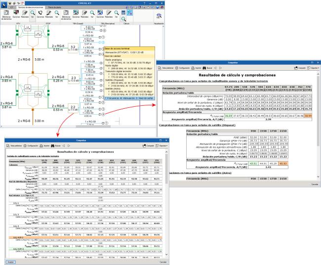 CYPETEL ICT. Infraestructuras comunes de telecomunicacion. Resultados generados y comprobaciones realizadas tras el cálculo de la instalación